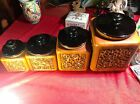 Rare Find Vintage Haeger 4 Piece Numbered Ceramic Canister Set