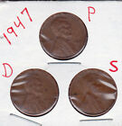 1947 P,D,and S Lincoln cents in VERY GOOD AND BETTER  condition (3 coins )stk9