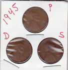 1945 P,D,and S Lincoln cents in VERY GOOD AND BETTER  condition (3 coins )stkDD