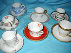 Demitasse cups saucers collection of 7 pre WWII various maker marks and styles