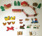 Vintage antique wood farm ark animals people trees PUTZ German & Italy 30 Pieces