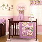 Purple, Green and Brown Owls Baby Girls Discounted 4pc Nursery Crib Bedding Set