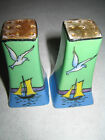 Hand Painted Salt & Pepper Shakers from Japan Boat and Sea Gulls Water- Gold Top