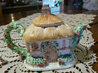 HANDPAINTED COTTAGE HOUSE TEA POT MLESNA PORCELAIN CEYLON Sri Lanka