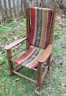 UNIQUE ROCKING CHAIR WOODEN OAK FRAME HAND WOVEN TAPESTRY SLING SEAT DOLLS BEARS