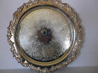 VINTAGE LARGE SHERIDAN SILVERPLATE ORNATE ROUND SERVING TRAY