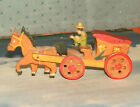 Antique Wooden Toy Horse & Wagon Japan