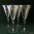 4x Vintage Etched Cut Wine Water Goblets Crystal Glass Flower Laurel Leaf Estate