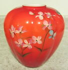 Fenton Glass 2012 Persimmon Handpainted Floral and Butterfly Vase