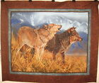 Wild Wings Territorial Trail Wolf Wall Hanging 100% Cotton Fabric panel Wildlife
