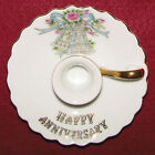 Vint Lefton Japan Happy Anniversary Candle Holder With Bells & Roses - 7112 EXC