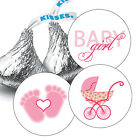 108 Baby Girl Shower Hershey Kiss Stickers Party Favors Decoration Pink Carriage