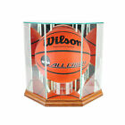 GLASS OCTAGON FULL SIZE BASKETBALL DISPLAY CASE WITH WALNUT WOOD AND MIRROR BACK