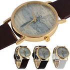 Lady Retro Dragonfly Dial Leather Band Quartz Analog Wrist Watches Watch Cheap