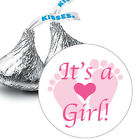 108 Its a Girl Pink Baby Footprints Baby Shower Favors Hershey Kiss Stickers