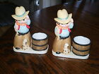 RARE! Pair 1981 Jasco Boy Cowboy w/Dog Hand Painted Porcelain Candle Holders!