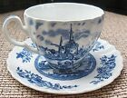 JOHNSON BROTHERS ENGLAND TULIP TIME BLUE WHITE BACKGROUND CUP & SAUCER