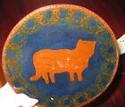 REDWARE pottery CAT PLATE ~ signed C.N. FOLTZ ~ Reinholds PA ~ RED WARE FOLK ART