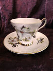 Windsor  Bone China Teacup & Saucer Set  Floral Dogwood England