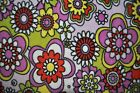Floral Pink Green Fleece Fabric 12 Inch Remnant Piece