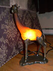 1999 TIN CHI BRONZE ART DECO ACCENT LAMP AMBER GIRAFFE ART GLASS