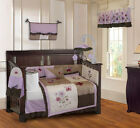 10 Piece Purple Blossom Girls Boutique Baby Crib Bedding set with Musical Mobile