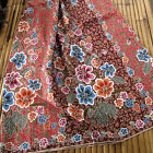 Batik Red Brown Sarong Floral Beach Cover-up Wrap Pareo Cotton Craft Table cloth
