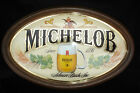 VINTAGE MICHELOB ANHEUSER BUSCH PLASTIC WOOD OVAL  BEER BAR SIGN SINCE 1896