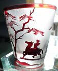 ANTIQUE BACCARAT RED CUT BACK of ANCIENT CHINESE WARRIORS  GINGKO TREES GLASS