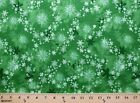 Merry Christmas Snowflakes on Green Winter Holiday Cotton Fabric Print D684.07