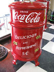 Antique /Vintage Restored Round Metal Ice Box done in Coca Cola colors-Item#1304