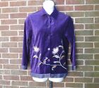 Dialogue Purple Velvet Embroidered Floral Applique Button Front Jacket S Small