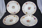 4 White Porc Victorian Plates with Butterfly, Flower & Gilt Designs Enameling