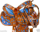 15 16 CUSTOM BROWN LEATHER HAND PAINTED BLUE BARREL RACING HORSE SADDLE TACK