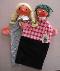 2 Vintage Oreff Wooden Head Hand Puppets Boy & Girl NWT German Dem. Republic