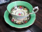 PARAGON PORCELAIN CUP SAUCER SET ENGLAND ENGLISH VINTAGE GOLD EXC ART DECO RARE