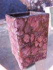 square hand glazed  ceramic vase with pink and (REAL)gold halo technique