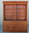 1 OF2 RARE COUNTRY DRUG STORE 38 DRAWER OAK APTHOCARY PHARMACY BACK BAR CABINET