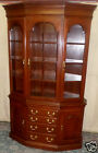 VINTAGE Harden Cherry Canted Front China Cabinet Hutch Glass Shelves