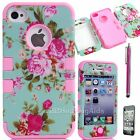 For Apple iPhone 4 4S Hybrid Impact Rugged Rubber Hard Soft Case Cover+Pen Pink