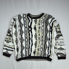Vtg 90s COOGI Multi Color B & W Cosby Textured Knit Turtleneck Sweater Shirt M