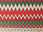 Winter's Grandeur 2 Green Red Chevron Cotton Fabric Print by the Yard D763.23