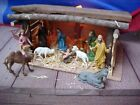Orig Old Fashion Christmas nativity MANGER STABLE set rustic American HandMade