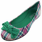 New womens ballet flat ballerina fabric green bow checkers and Plaid casual