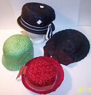 lot 4 vintage womens new basket weave straw hats red green blue black union tag