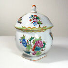Herend Queen Victoria Porcelain Bon Bon Dish Box Sugar Bowl Vintage 1944