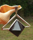 BLACK TOURMALINE PENDANT WITH PYRAMID STONE OF PROTECTION STERLING