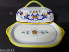 NEW Deruta Italy Italian Pottery COVERED BUTTER DISH Plate Tulips Fleur De Lis