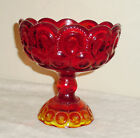 Stars Glass Pedestal Compote Ruby Red Fade to Yellow