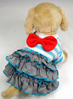 Blue Stripe Bow Dress Cute costume Dog clothes Chihuahua L